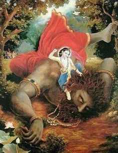 Krishna...kills narkasur...on the day of kali chaudas..its hindu festival...which is today... one day before Diwali