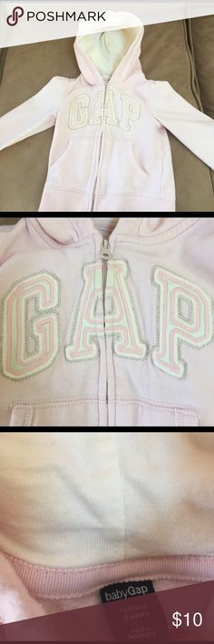 Pink gap hoodie size 2T Cute pink and cream hoodie sweatshirt.  Made by the gap.  Size 2T.   Good condition/ smoke free home. baby gap Shirts & Tops Sweatshirts & Hoodies