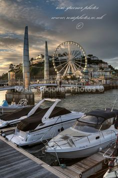 Portrait photo of the Big Wheel and Bridge at Torquay Harbour - Torbay