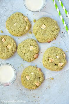 Cookies chocolat blanc/matcha #vegan #glutenfree - La gourmandise selon Angie Matcha, Cookies Sans Gluten, Cookies Et Biscuits, Glutenfree, Vegan, Lactose, Food, White Chocolate Chips, Kitchens