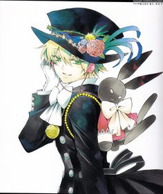 Pandora Hearts Oz and B-Rabbit. He's Alice's contractor and she's a chain called B-Rabbit.