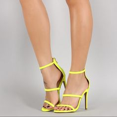 Neon yellow strappy heels Never worn, still in box ☺️ (selling for less on Ⓜ️ercari ) Liliana Shoes Heels