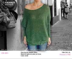 #Sweater Mora CS 051 Material tejido en seda con lurex Color Verde S,M,L,XL $790
