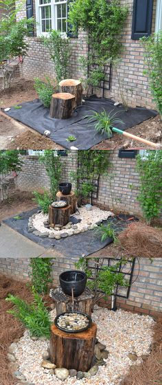 DIY Log Fountain Instructions: Dig a hole and place plastic bin in hole. Place a cinder block in the plastic bin to support weight of log. Cover bin with chicken wire. Place pump in plastic bin. Place logs. Drilled hole in plastic container and inserted brass tube and sealed with silicon. Placed rocks in a shallow ceramic drip pan and added rocks.