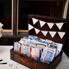 """Brides.com: . The couple's mutual love of travel-themed postcards inspired their alternative guestbook. They collected vintage cards and displayed them inside a suitcase, from which guests could select one and write a note on the back. """"These were so fun to read because lots of guests chose postcards of destinations that were their favorites or their hometowns,"""" Kristin says."""