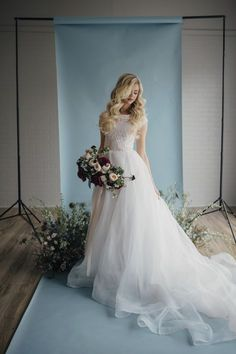 Holly gown by Elizabeth Cooper Design   Photo by Cassandra Farley Photography   modest wedding dress   wedding dress with sleeves   ballgown   ballgown with sleeves   lace wedding dress   wedding gown   organza   cinderella dress   blush wedding dress   modest  