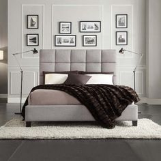 INSPIRE Q Fenton Grey Linen Panel Upholstered Bed - Overstock™ Shopping - Great Deals on INSPIRE Q Beds