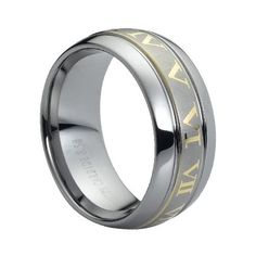 Tungsten Carbide Laser Engraved Yellow Gold Plated Roman Numerals on Brushed Center 9mm Wedding Band Ring, 7.5 Size Rings - Tungsten http://www.amazon.com/dp/B00AM145R6/ref=cm_sw_r_pi_dp_Iprzwb1YSZGJ4