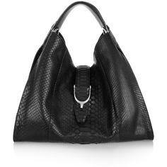 Gucci Stirrup python hobo bag ($4,800) ❤ liked on Polyvore featuring bags, handbags, shoulder bags, gucci, purses, black, python handbags, hobo purses, hand bags and shoulder strap handbags