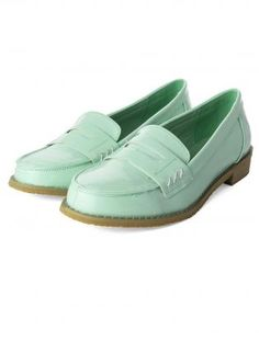 Mint Green Classic Loafers with Cut-Out Belt Front.