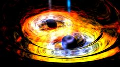 Astronomers have spotted what appear to be two supermassive black holes at the heart of a remote galaxy, circling each other like dance partners. The incredibly rare sighting was made with the help of NASA's Wide-field Infrared Survey Explorer, or WISE. Stephen Hawking, Einstein, Gravitational Waves, Neutron Star, Theory Of Relativity, Hubble Space Telescope, Carl Sagan, Our Solar System, Astrophysics