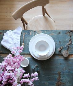 Pull Up A Seat Featuring New Angel White Dinnerware Collection, Lace Inset Napkins & Driftwood Mayer Chair. #rachelashwell