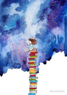 A Tiny Book Lover by MankaKasha zeichnung Art And Illustration, Watercolor Illustration, Doodle Art, Art Du Croquis, Watercolor Books, Watercolour Drawings, Watercolours, Art Mignon, Inspiration Art