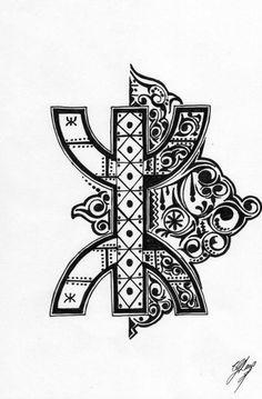 ⵣ asekkil n-zzin Body Art Tattoos, Tribal Tattoos, Berber Tattoo, Morocco Fashion, Afrique Art, Phone Screen Wallpaper, Simple Henna, Lotus Tattoo, Persian Motifs