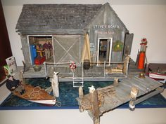 Dollhouse Miniature Artisan Darby Magnificent Boat Yard Roombox Display