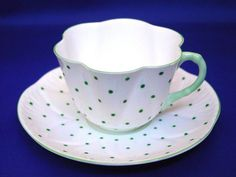 LOVELY VINTAGE SHELLEY CUP & SAUCER GREEN POLKA DOT DAINTY SHAPE