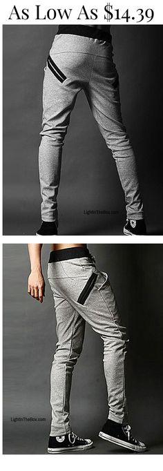 Relax, it's weekend! All you need to feel comfortable is a pair of sweatpants and a pullover. Click on the picture to discover these casual cosy men sweatpants in light/ dark grey and black colours at just $14.39. Click to shop!