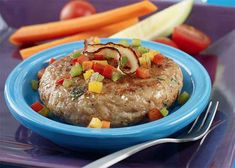 Sometimes parents have to get creative in the ways to increase veggies with the family. This delicious chicken patty is packed with veggie goodness & complimented with colorful veggie spears. Who says we shouldn't play with our food! Stuffed Pepper Soup, Stuffed Peppers, Spicy Tuna Salad, Roasted Red Pepper Soup, Sweet Bell Peppers, Chicken Patties, Eat The Rainbow, Recipe Search, Easy Weeknight Meals