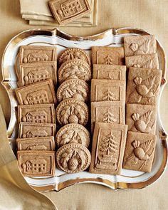 embossed design made by pressing a mold onto rolled dough and allowing the impression to dry before baking.