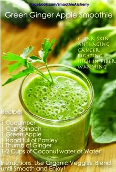 Green Ginger Apple Smoothie Recipe : Here is a pretty tasty looking and seemingly healthful smoothie recipe found on Pinterest featuring cucumber, green apples, spinach, parsley, ginger, and coconut water. Green Ginger Apple Smoothie Recipe Benefits  The above mentioned recipe is said to offer the following health benefits : Clear Skin Anti-Aging Cancer Fighting High Fiber Warming […]