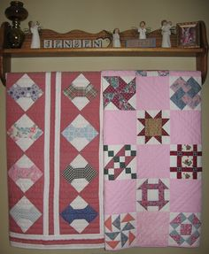 Antique bow-tie blocks pieced together in pink sampler quilt made in Pink Quilts, Sampler Quilts, Quilt Making, Bows, Blanket, Antiques, Color, Tie, Beautiful