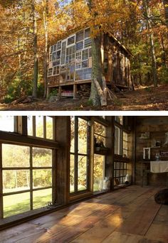 The Sunset House in southern West Virginia: built by Lilah & Nick using lumber reclaimed from a barn & windows reclaimed from junkyards.