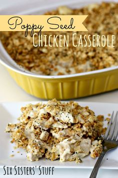 Six Sisters' Stuff: Poppy Seed Chicken Casserole. One cup of sour cream instead of one and a half. Very delicious! Yummy Recipes, Great Recipes, Cooking Recipes, Yummy Food, Favorite Recipes, Recipies, Budget Recipes, Tasty, Poppy Seed Chicken Casserole