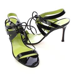 Manolo Blahnik patent leather strappy sandals.