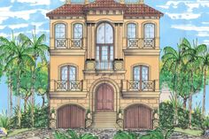Mediterranean Style House Plan - 3 Beds 3.5 Baths 2664 Sq/Ft Plan #548-9 Exterior - Front Elevation - Houseplans.com