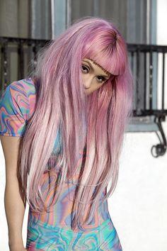 Long pink hair with bangs