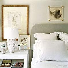 Comfy headboard draws you in.........the Art.........vignette....special touches.........KEEP You sated!!  Splendid Sass: CHARLES SPADA ~ INTERIOR DESIGN