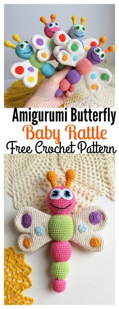 Crochet Toys Patterns Free Amigurumi Butterfly Baby Rattle Crochet Pattern - The Crochet Amigurumi Butterfly are super beautiful! Crochet Butterflies make a cute gift for newborns. You can also hang them up to make a baby mobile. Crochet Baby Toys, Cute Crochet, Crochet Animals, Crochet For Kids, Beautiful Crochet, Amigurumi Animals, Crochet Baby Stuff, Amigurumi Doll, Baby Knitting Patterns