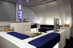 Korean Air Airbus 380 -  All-business upper deck, on-board duty-free boutique, and this Celestial Bar