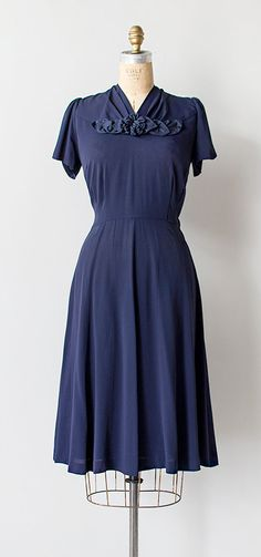 vintage 1940s navy blue floral rosette dress | Summer Governess Dress