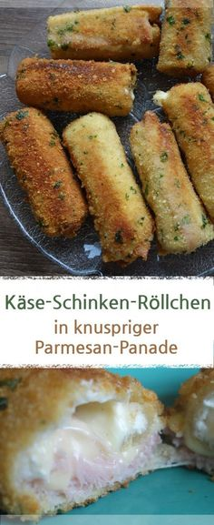 Käse-Schinken-Röllchen mit Toast in knuspriger Parmesan-Panade. – Meine Stube #käse #fingerfood #parmesan