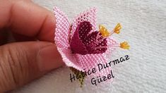 Fuchsia making - Welcome to the video of the needlework series. In this video, we made you a Christmas flowe - Diy Flowers, Crochet Flowers, Needle Lace, Fuchsia, Hand Embroidery Designs, Needlework, Crochet Earrings, Make It Yourself, Stitch