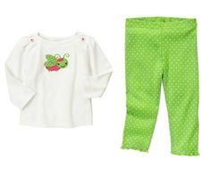 Baby Clothes | Gymboree Grasshopper Set Baby Girl 100% Cotton