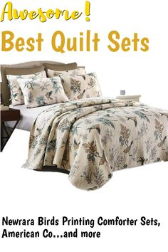 (This is an affiliate pin) Newrara Birds Printing Comforter Sets, American Country Queen Quilt Set/Bedspread 100% Cotton,Beige 3Pcs