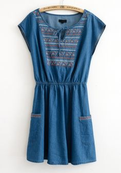 Dark Blue Embroidery Geometric Short Sleeve Denim Dress
