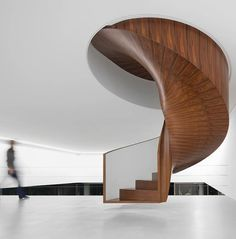 Isay Weinfeld's ironwood spiral floating staircase - private home in Sao Paulo.