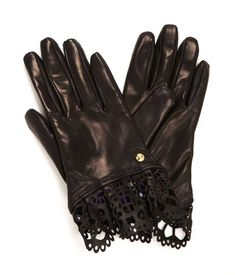 Lace Detailed Nappa Glove at Henri Bendel NY