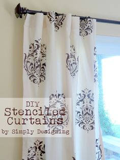 Simply Designing with Ashley: DIY Stenciled Curtains, Cutting Edge Stencils Kitchen Net Curtains, Home Curtains, Drapes Curtains, Curtain Fabric, Drapery, Stenciled Curtains, Drop Cloth Curtains, Cutting Edge Stencils, Curtain Designs