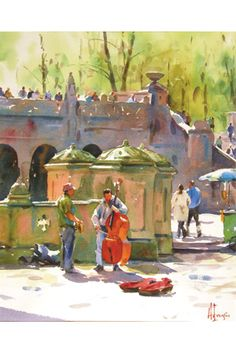 """Music in the Air"" by watercolorist Andy Evansen (Minnesota, USA). Captures the delights of roaming in a town - unknown or known to the explorer - setting aside the ""to-do"" list, escaping from the cares and worries of life, to enjoy the simple pleasures and joys of a beautiful sunny day, listening to talented musicians, and renewing one's soul."