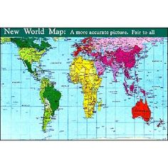 NEW WORLD MAP: THE PETERS PROJECTION. EACH COUNTRY IS SHOWN AT TRUE SIZE AND PROPORTION. CORRECTS THE EUROCENTRIC DISTORTIONS OF TRADITIONAL MERCATOR MAP