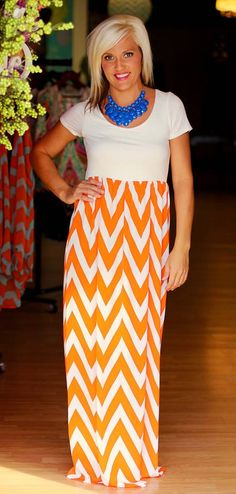 Gorgeous Game day Arrival!  Orange/White Chevron Maxi Dress.  $42.50.  Go Gators, Go Vols, Go Tigers!  Available at 105 West Boutique in Abbeville, SC