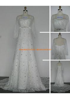 schlicht Bodenlange Brautkleid 2013 aus Spitze mit Ärmel