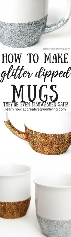 How to make dishwasher safe glitter dipped mugs. These are so pretty and easy to make. It's the perfect mug craft to get some sparkle! (diy arts and crafts dollar stores) Mug Crafts, Diy Arts And Crafts, Crafts To Sell, Easy Crafts, Glitter Projects, Glitter Crafts, Glitter Decorations, Diy Projects, Burlap Projects