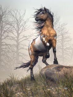 "Pinto by Daniel Eskridge ""Pinto"" Digital Art (Gorgeous Wild Copper-Bay Paint Mustang). Pretty Horses, Horse Love, Beautiful Horses, He's Beautiful, Cavalo Wallpaper, Cheval Pie, Native American Horses, Indian Horses, Horse Artwork"