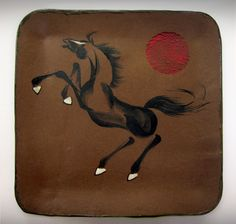 Rearing stallion with longevity seal on a high-fire brown stoneware platter. By Tracie Griffith Tso of Reston, Va. and on display at the NIH Clinical Center through Sept. Animal Symbolism, Year Of The Horse, Lunar New, Pottery Studio, Chinese Painting, Silk Painting, Platter, Stoneware, Seal