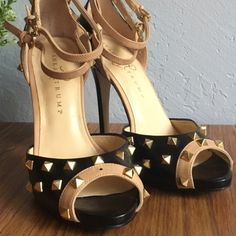 Ivanka Trump Leather Studded Ankle Wrap Heels 'Bulbi' style heels by Ivanka Trump. Kind of have a Valentino 'Rockstud' style. Heels are a little worn and scuffed as is the bottom. The right shoe is missing a stud on the front, but I paid 65 for them missing the stud! Can be replaced with a stud from a craft store. 100% leather Ivanka Trump Shoes Heels